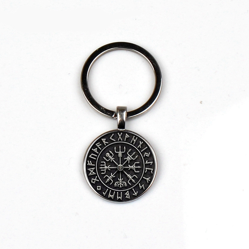 Fashion Vegvisir Viking Compass Keychain Retro Cabin Jewelry Glass Bag Charm Car Keyrings Men Women Keychains The Best Love Gift