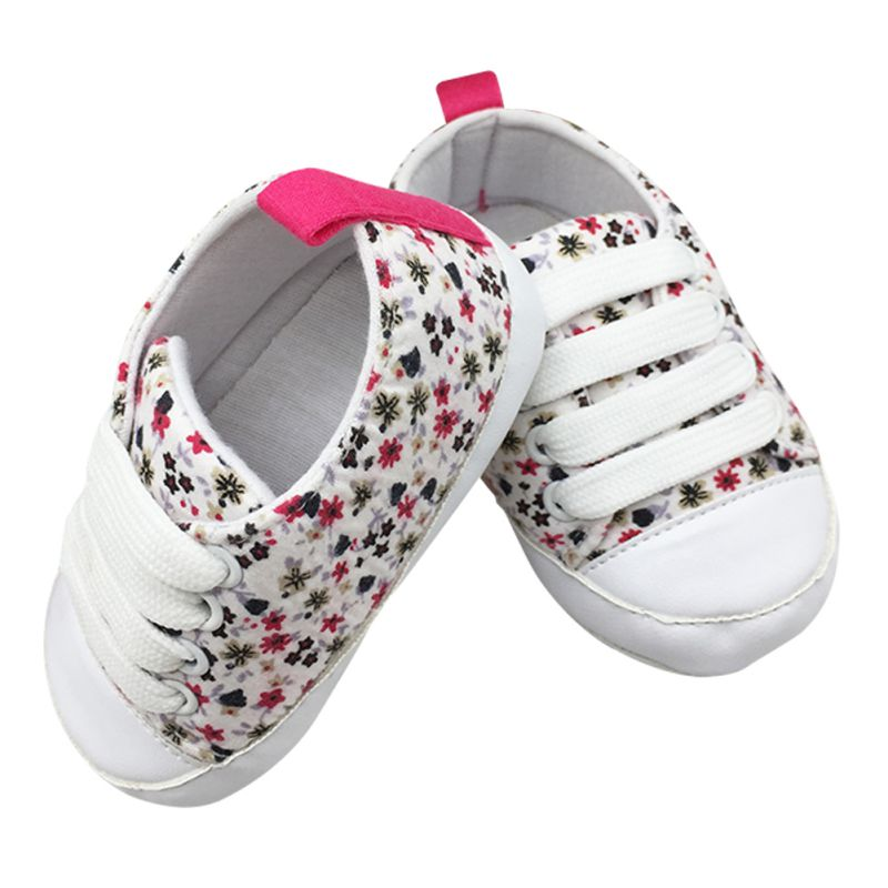 All Season Toddler Kids Canvas Sneakers Casual Floral Printed Lace-Up Soft Soled Comfortable Baby Crib First Walkers Shoes 0-18M