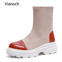 Vianoch New Fashion Mid Calf Boots Casual Platform Shoes Strechy Fabric Shoe Woman wo1808141