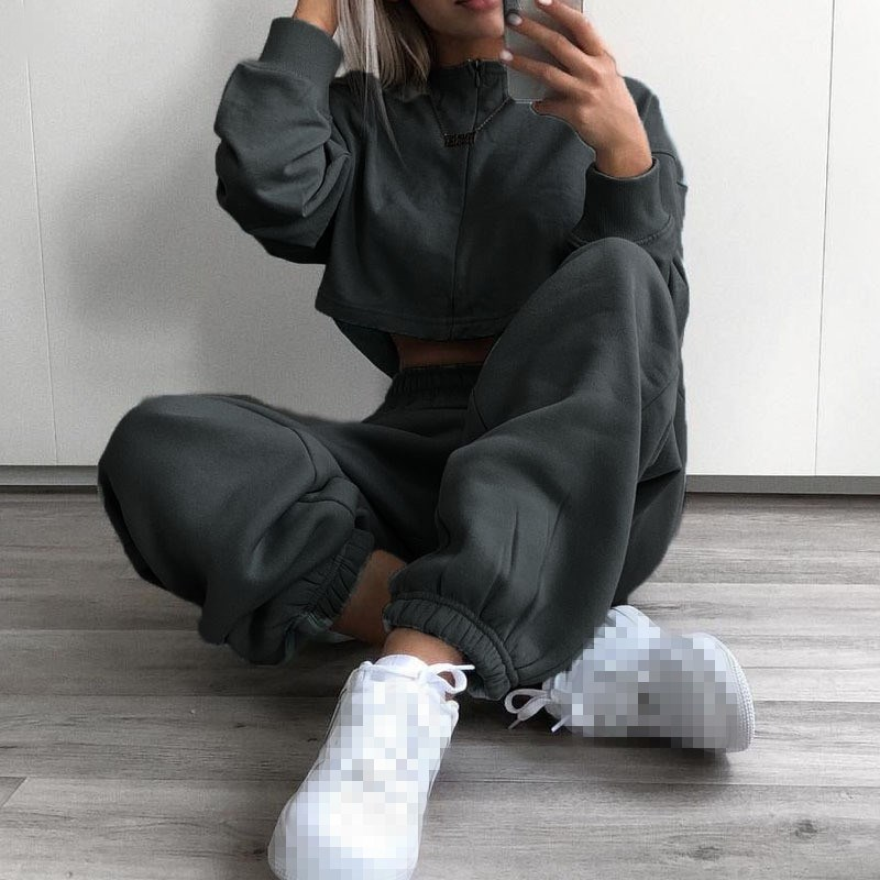Women   Capris   Pockets Sweat   Pants   Casual High Waist Trousers Solid Gray Yellow Track   Pants