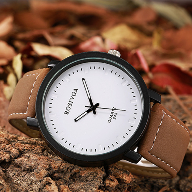 Lover Gift Fashion Simple Big Round Dial Watch Women Wrap Quartz Casual Watch for Man Black White Khaki Dial Leather Wristwatch