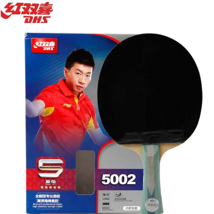 ФОТО DHS Original 5-Star Table Tennis Racket (5002, 5006) with Rubber Skyline Hurricane + Bag Ping Pong Bat