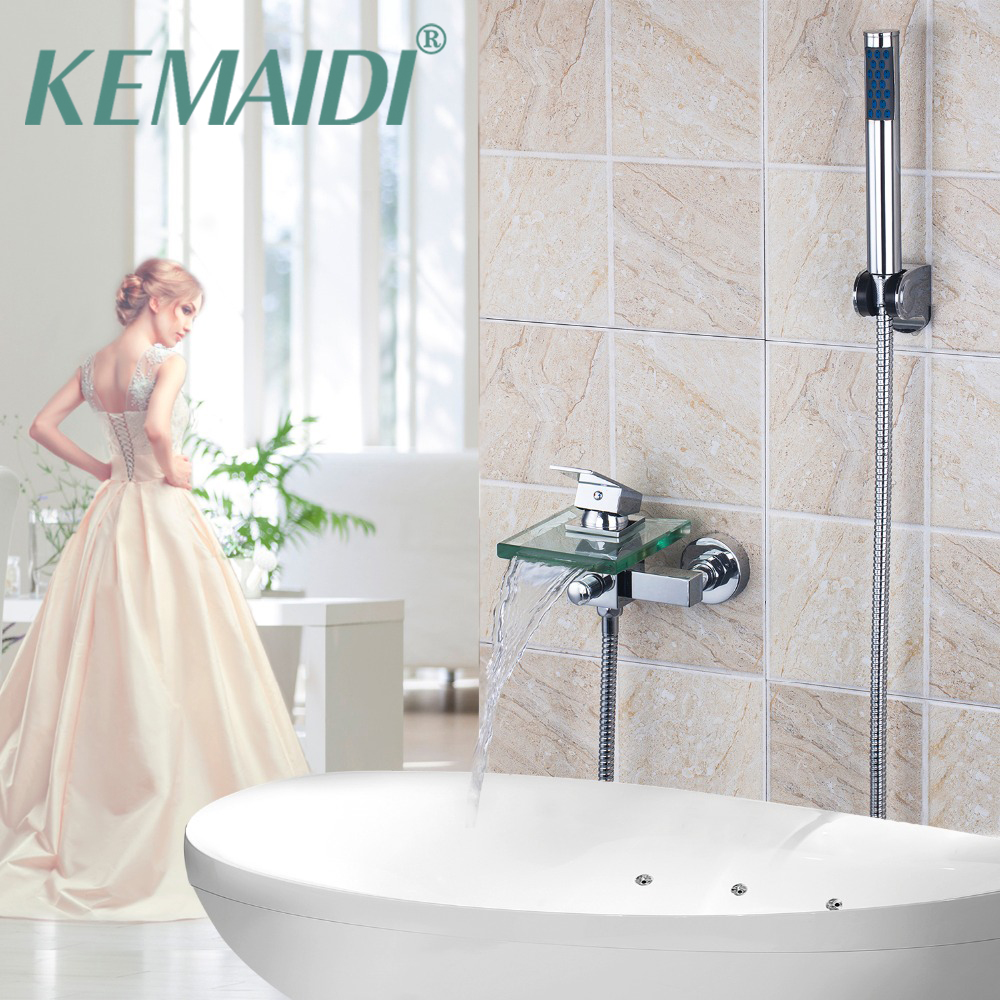 KEMAIDI Shower Faucet Set Bathroom Faucet Chrome Finish Mixer Tap W/ ABS Handheld Shower Wall Mounted With Hand Spray new chrome finish wall mounted bathroom shower faucet dual handle bathtub mixer tap with ceramic handheld shower head wtf931