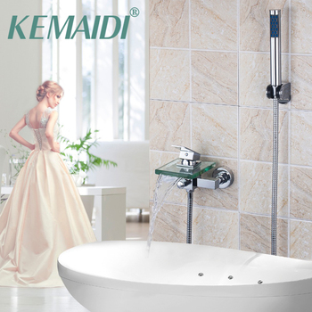 KEMAIDI Shower Faucet Set Bathroom Faucet Chrome Finish Mixer Tap W/ ABS Handheld Shower Wall Mounted With Hand Spray