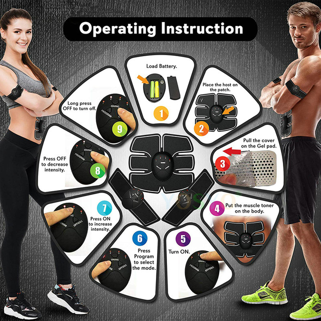 EMS Wireless Muscle Stimulator Trainer Smart Fitness Abdominal Training Electric Weight Loss Stickers Body Slimming Belt Unisex 4