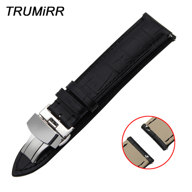 22mm Quick Release Genuine Leather Watch Band for Samsung Gear S3 Classic Fronti