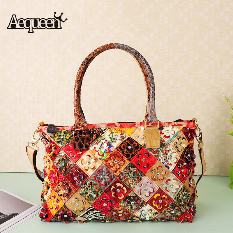 AEQUEEN 2018 Patchwork Genuine Leather Handbags Women luxury Shoulder Bags Ladies Flower Totes Crossbody Bags Bolsos