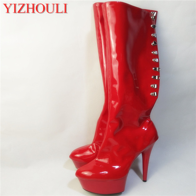 Red Lacing sexy women motorcycle boots 15cm high-heeled shoes steel pipe dance  shoes sexy 66c4c18900b6