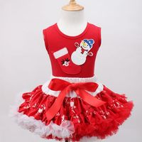 EMS DHL Free Shipping Toddler Girls 2016 New Cute X Mas Outfit 2pc Suit Vest Skirt