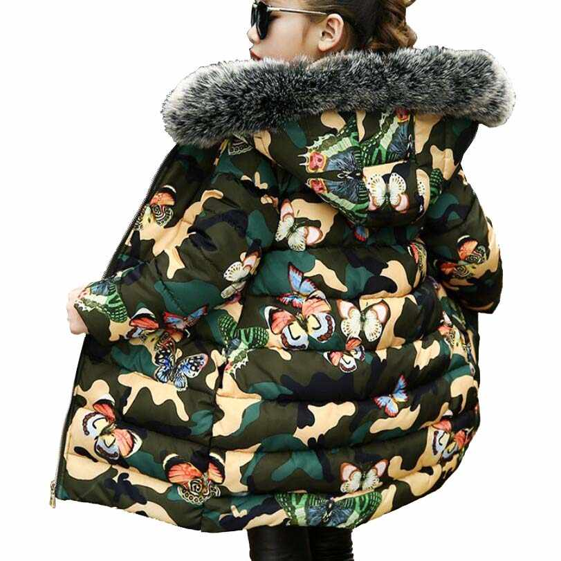 Girls clothes kids winter thickening cotton jacket girls long style butterfly camouflage warmly coat girls tops baby outwear