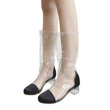 d34241774952 Vente chaude d été de mode bottes Femmes Cheville Bottes Tête Ronde Cristal  Talon Transparent Bottes Effacer Haut Chaussures 201.
