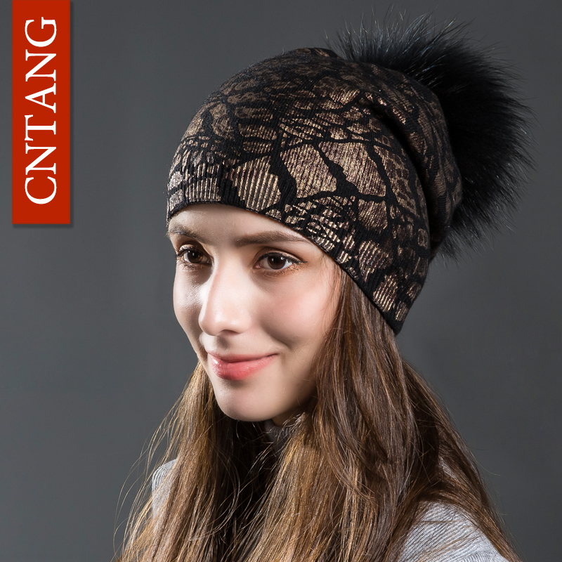 CNTANG Women Winter Warm Hats Fashion Bronzing Leopard Hats With Natural Pompom Fur Caps Female Knitted Wool Hat Raccoon Beanies