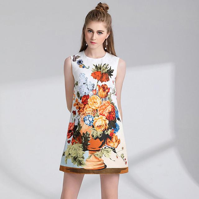 Floral Print Vintage runway Dresses