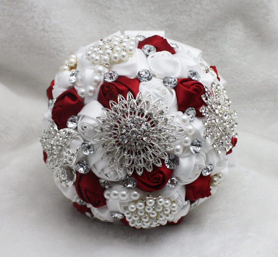 2017 Люкс Для Невесты Свадебный Букет Дешевые Кристалл Белый и Красный Стразы Ручной Искусственный Цветок Свадебные Букеты