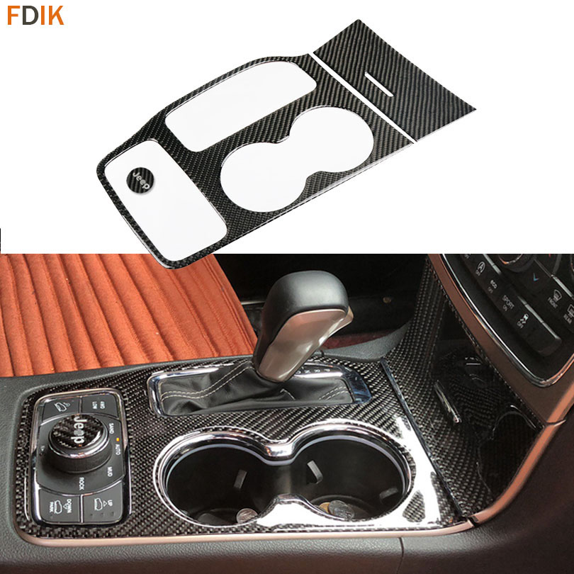 Sport Carbon Fiber Inner Gear Shift Box Panel Cover Water Cup Holder Molding Trim Decoration for Grand Cherokee 2016-2018