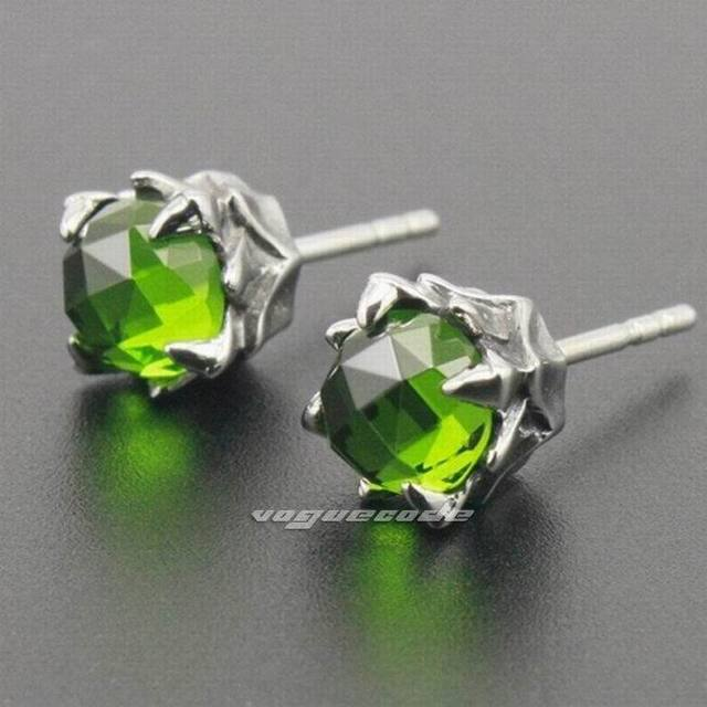 316l Stainless Steel Olive Green Cz Stone Mens Stud Earrings 3l003 2 Pieces