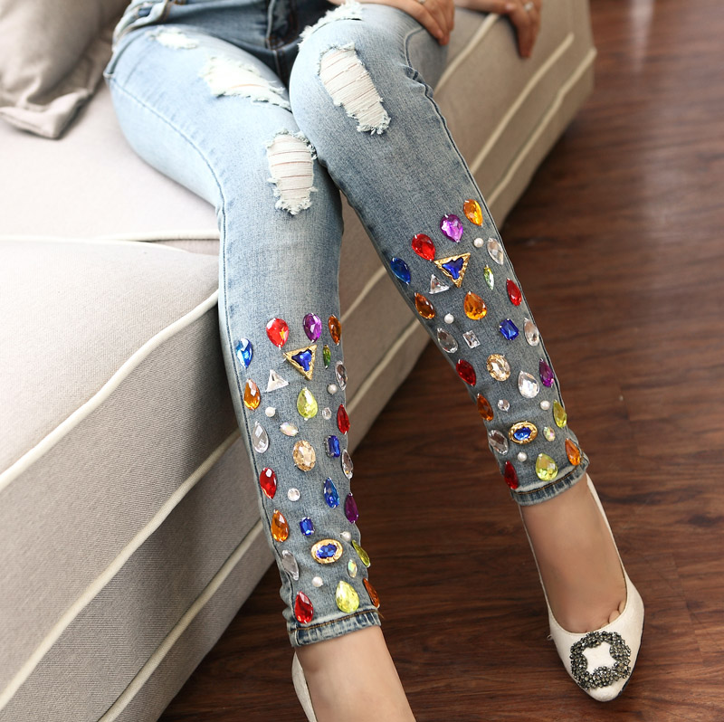 New spring women's sparkling diamond jeans with hole handmade rhinestones women ripped denim jeans pants trousers