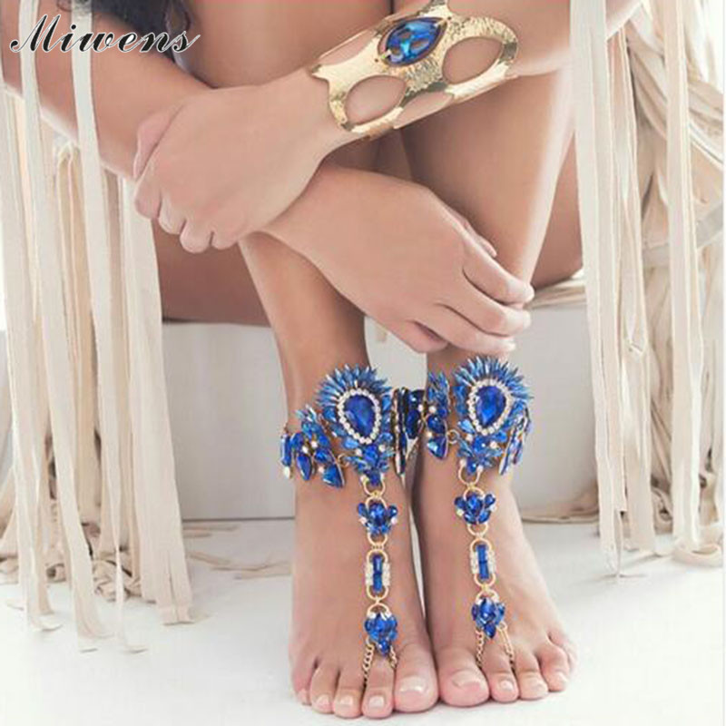 Miwens Summer Beach Vacation Anklets Bracelet Sexy Leg Chain Women Barefoot Sandals Boho Crystal Anklet Statement Jewelry 9537