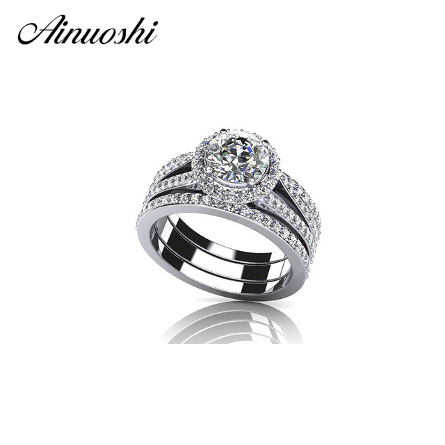 AINUOSHI Hot Sale 1 Carat Round Cut Zircon Ring Set 925 Sterling Silver Halo Band Ring Size 4-10 for Women Wedding Anelli Donna