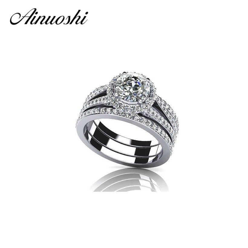 AINUOSHI gorąca sprzedaż 1 Carat okrągły Cut cyrkon pierścień zestaw 925 Sterling Silver Halo zespół pierścień rozmiar 4 10 dla kobiet ślub Anelli Donna w Pierścionki zaręczynowe od Biżuteria i akcesoria na  Grupa 1