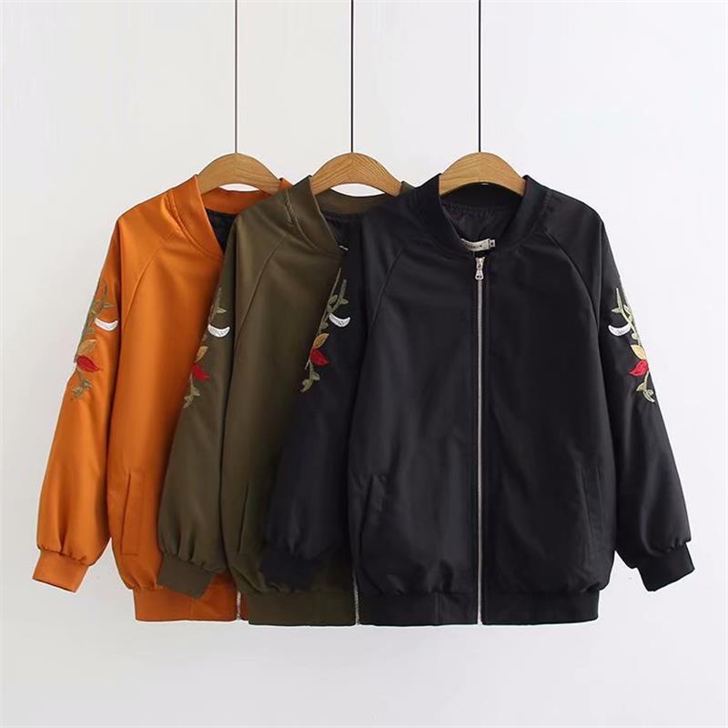 Plus size autumn drop shoulder sleeve women jackets 2018 casual ladies Embroidered black & Military green & orange bomber jacket