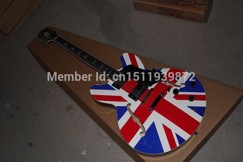 Бесплатная доставка Одежда высшего качества ES 335 Британский Флаг Пользовательские Полу Джаз полый Электрогитары в наличии