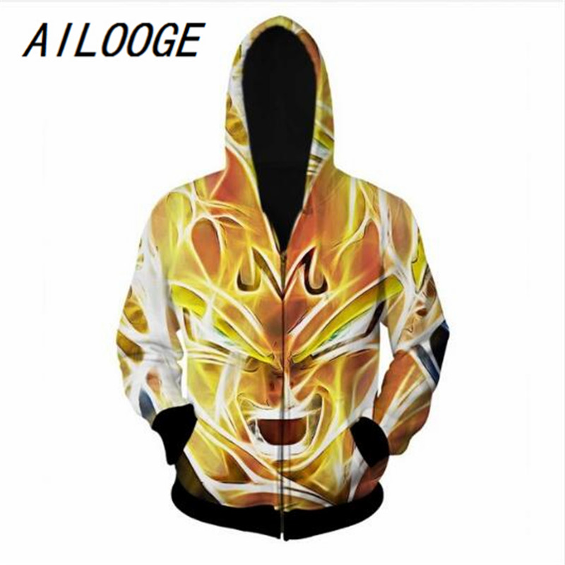 AILOOGE Dragon Ball Z Hoodies Super Saiyan Zipper Outerwear Goku/Vegeta/Majin Buu 3D Hoodie Women Men Loose Hooded Sweatshirt