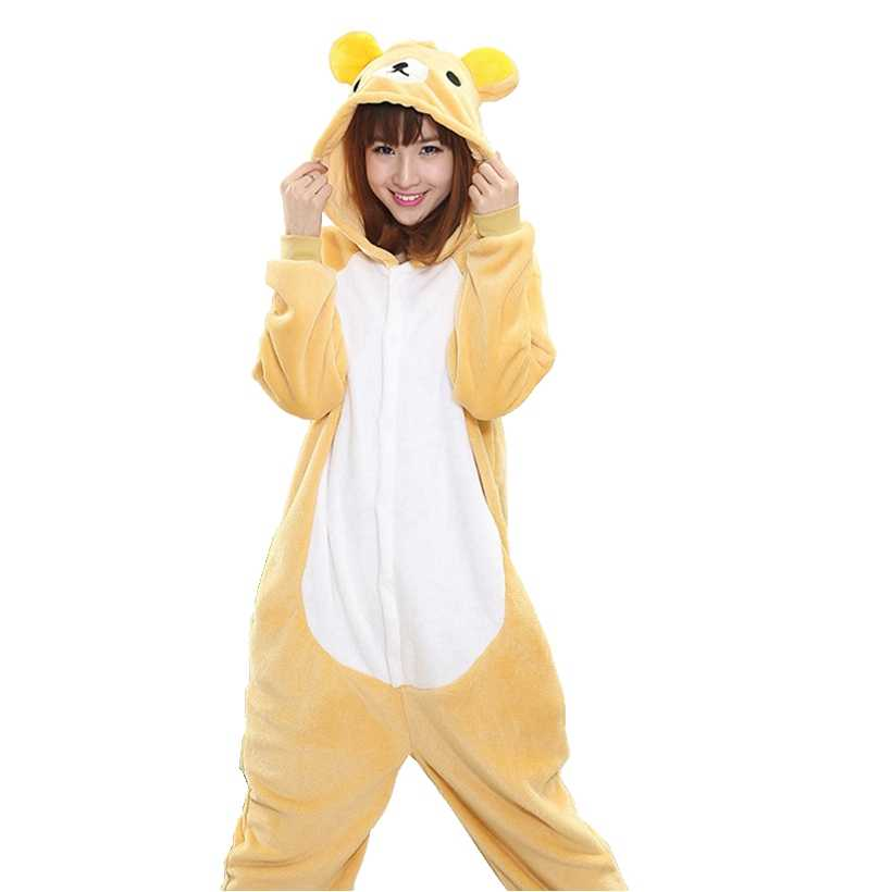 RILAKKUMA Bear Pajama Set Women Men Unisex Adult Animal Pijama Flannel  Onesie Cosplay Sleepwear Hoodie Halloween 6e3921506