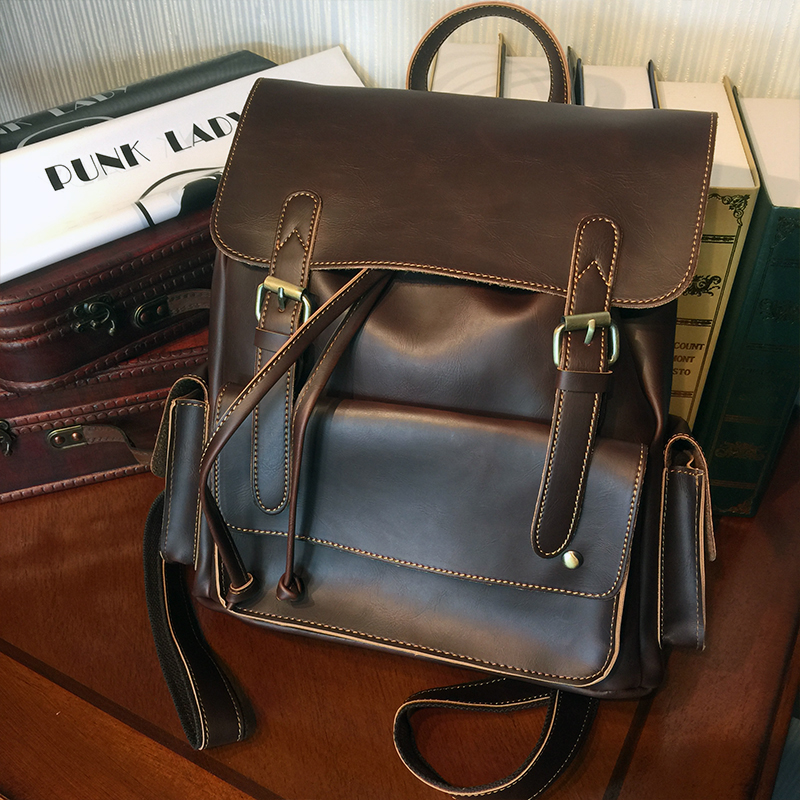 ETONWEAG Brands Leather Backpack Women Brown Vintage School Bags For Girls Preppy Style Drawstring Bag Casual Travel BagPack карты на столе