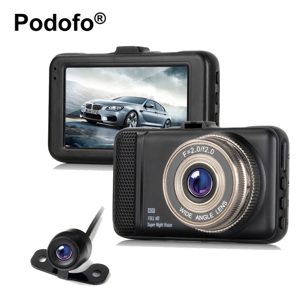 Оригинальный podofo Двойной Объектив Автомобильные видеорегистраторы Камера регистраторы 3.0 дюймов 1080 P Full HD видео регистратор видеокамера с ...