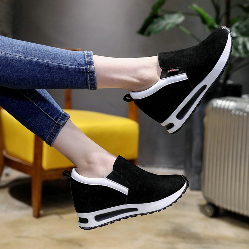 women platform shoes 2018 Hidden Heel Women Casual Shoes Vulcanized Slip on loafers Breathable Leather Toe Sneakers Spring Autum women canvas shoes woman loafers 2018 summer breathable women vulcanized shoes slip on casual female platform shoes size 35 44