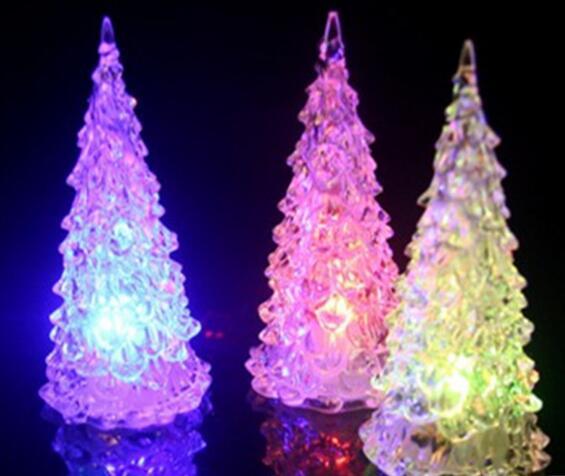 5pcs/set LED Acrylic Christmas Tree Colorful Night Light Christmas Gift Crystal Glowing Christmas Tree