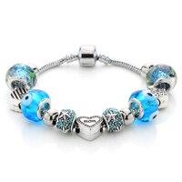 Zenper Hot Sales Vintage Diy Silver Color Charm Glass Bracelets For Women Blue Crystal Bracelets Bangles