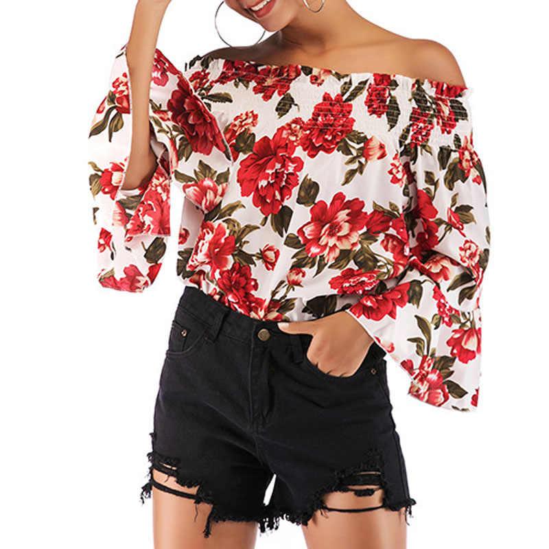 חדש 2019 נשים חולצות אביב קיץ חולצה נשי הדפסת שיפון חולצה סלאש למעלה סקסי כבוי כתף המפלגה חולצות בתוספת גודל חולצות