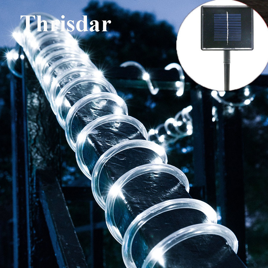Thrisdar 12M 100 LED Solar Rope String Light Waterproof Copper Wire Outdoor Tube Fairy String Lights For Christmas Garden Patio 5m 50leds battery powered led rope tube string lights fairy light waterproof outdoor christmas garden path fence tree lights