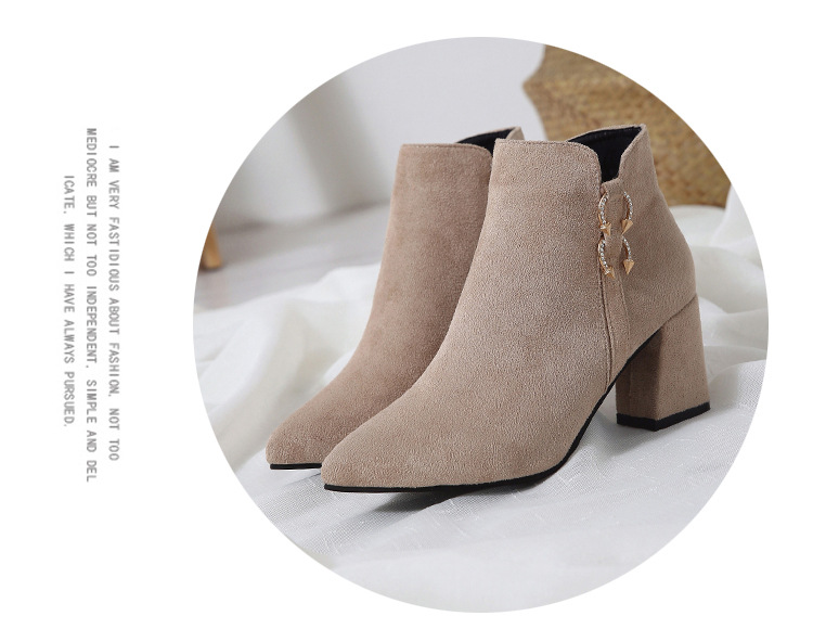 2019 Spring Autumn Women Boots New Fashion Casual Ladies Flock Short Boots Female Middle Heeled Boots M8D261 (13)