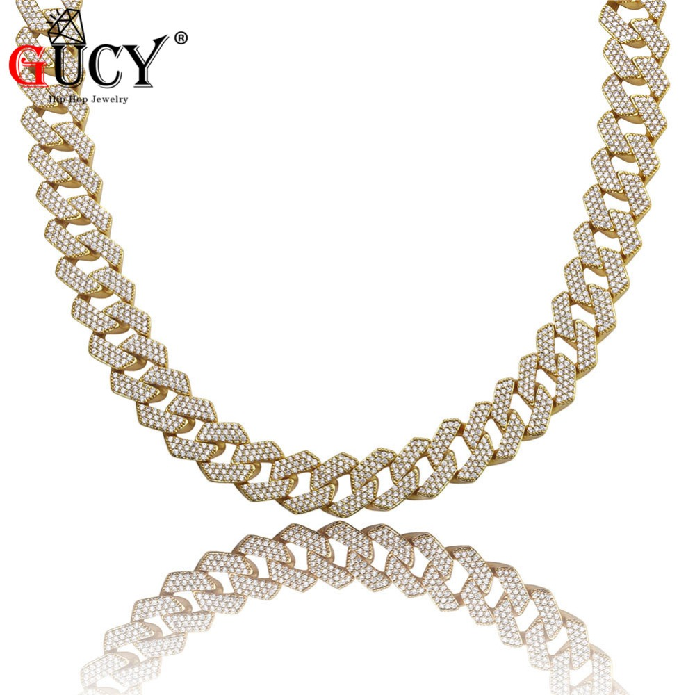 GUCY 16inch 30inch Personalized Men s 20mm Heavy Necklace Iced Out Zircon Three Rows Of Necklace