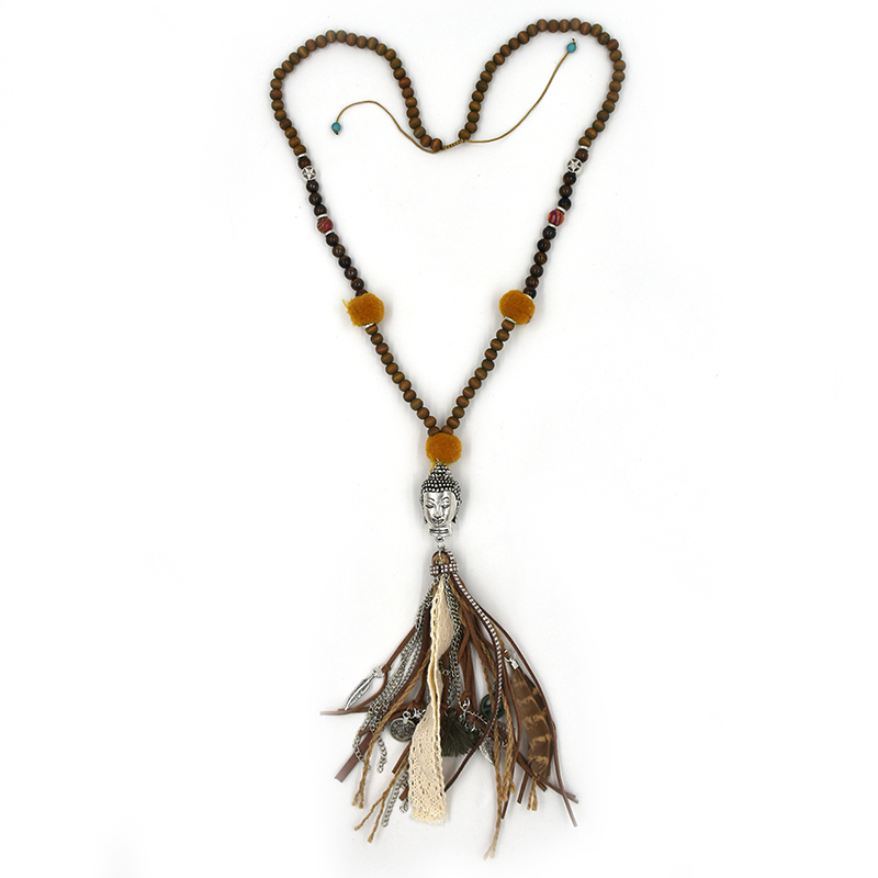 US $7 59 5% OFF|New Boho Tibet Antique Silver Buddha Pendant Necklace  Leather Lace Tassel Velvet Ball Beaded Chain Necklace dropshipping-in  Pendant
