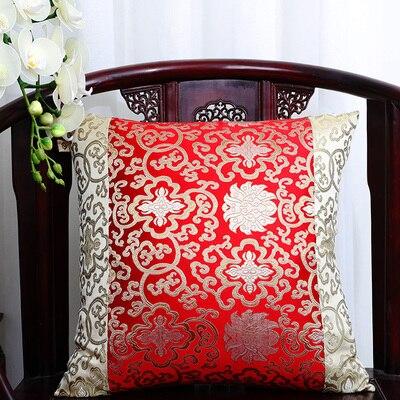 Классические Лоскутные цветочные шелковые наволочки для декоративных подушек подушечки высокого качества стул для дома офиса диванная подушка крышка - Цвет: yellow with red