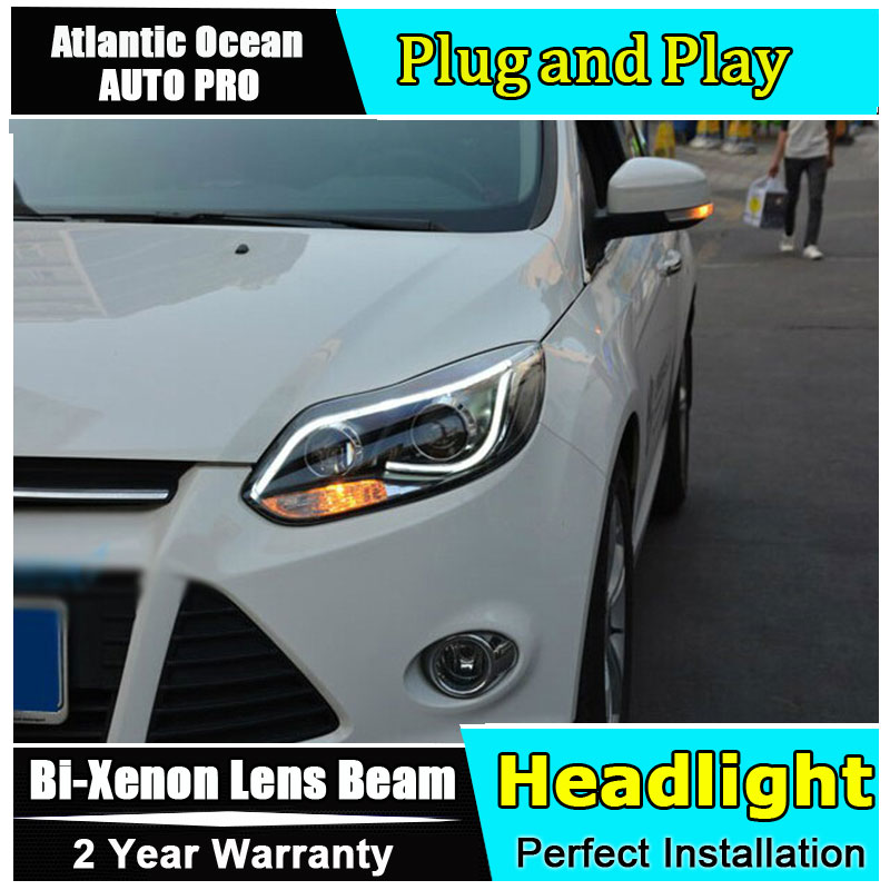new head lamps For ford focus 2012 2014 bi xenon lens LED Angel Eyes HID KIT