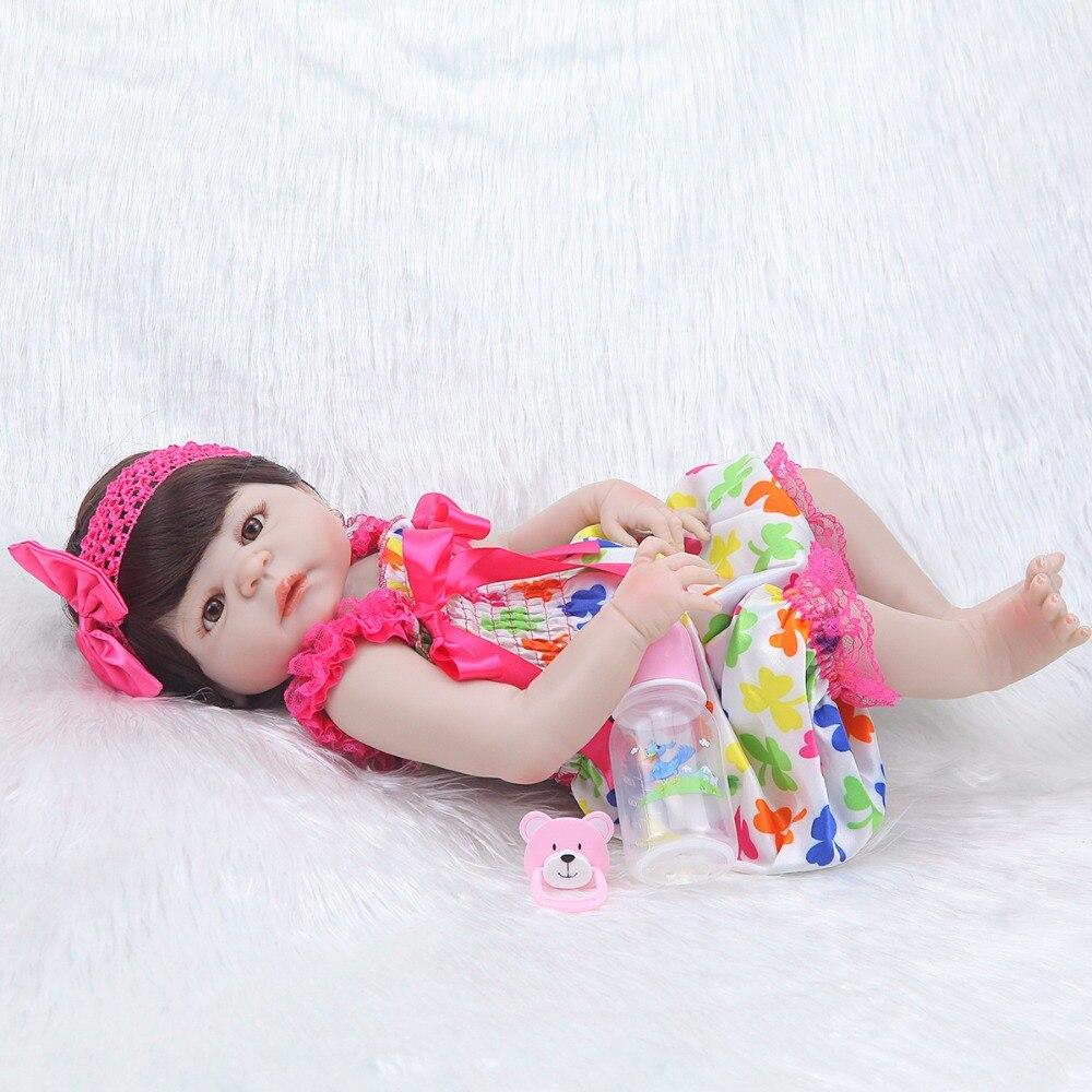 Moda 23 ''princesa realista muñeca de silicona Peluca de cuerpo ropa de bebé lindo vestido rosa bebé reborn menina niños regalo-in Muñecas from Juguetes y pasatiempos    2