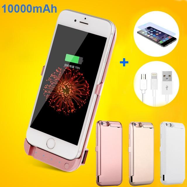 10000 Pacote banco do Poder De backup Caso Carregador de bateria Externa Para o iphone 6 6 s Plus com filme de vidro temperado e USB data linha