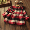 Baby дети девушки теплый топ шерстяное пальто красный плед толщиной 2015 симпатичные куртка flowers4 5 6 7 лет мода детская одежда