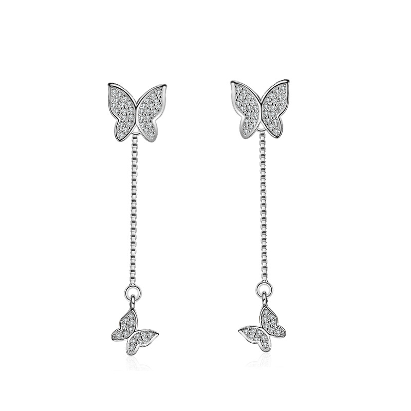 Promotion fashion butterfly shiny crystal female gift 925 sterling silver ladies`stud earrings jewelry wholesale