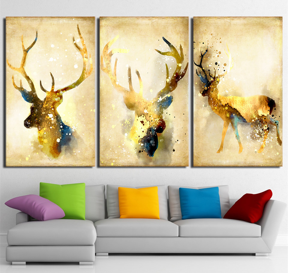 3Piece Wall Picture Prints Deer Elk Animal Yellow Poster Canvas ...