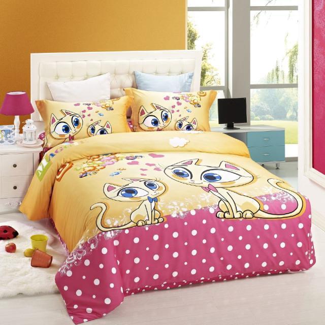duvet cover kids bed cat print bedding set children Girls ...