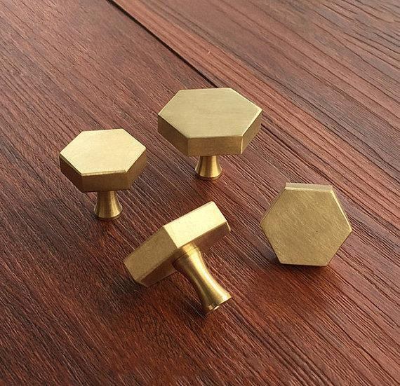 Brass Hexagon Knobs Cabinet Knob Handle Dresser Knobs Drawer Pulls HandleS Antique Kitchen Furniture Hardware