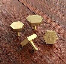 Медный шестигранник ручки ручка для шкафа комод ручки ящика ручки рукоятки под старину Фурнитура для кухонной мебели
