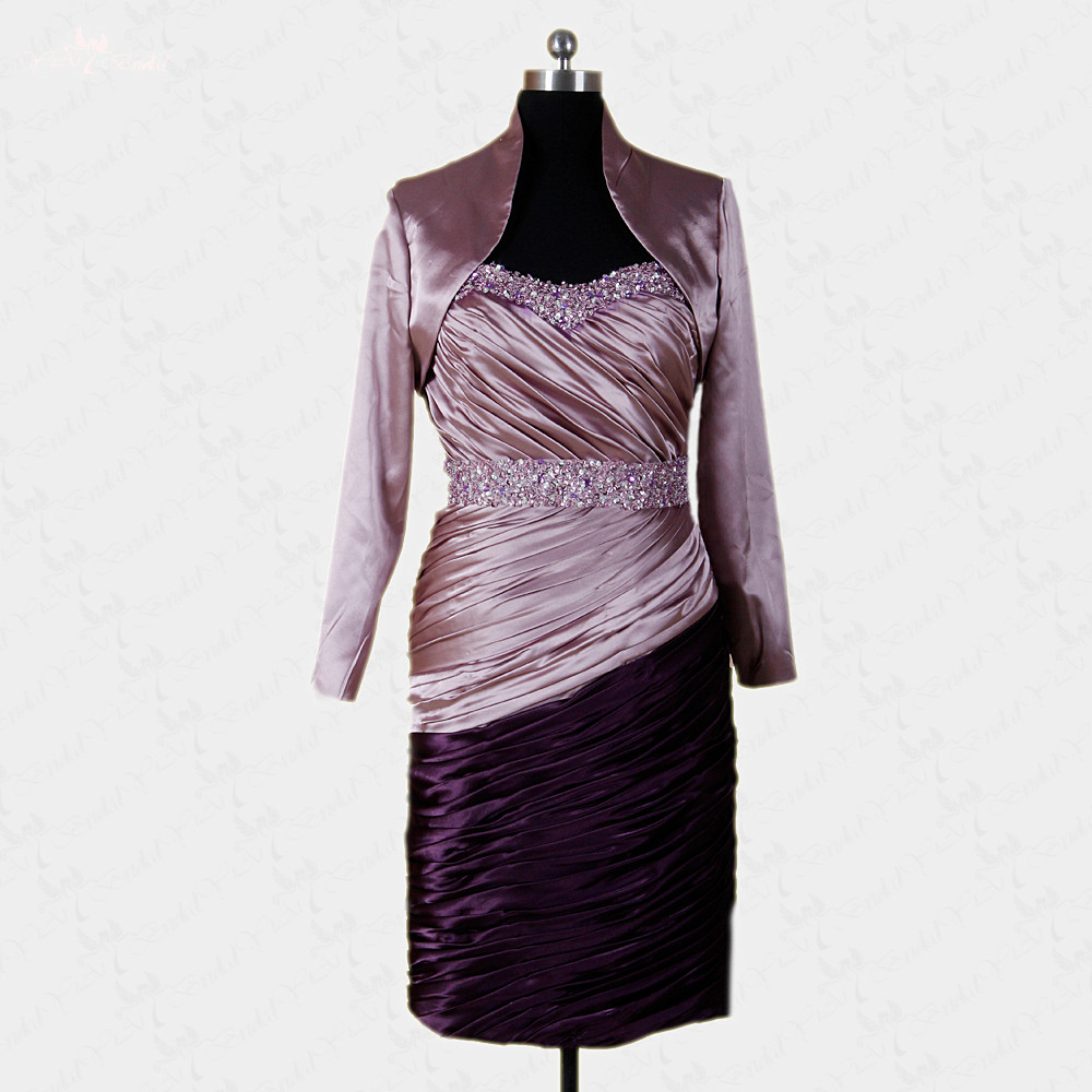 Rse233 purple formal dresses with satin bolero jacket for for Dress and jacket for wedding guest