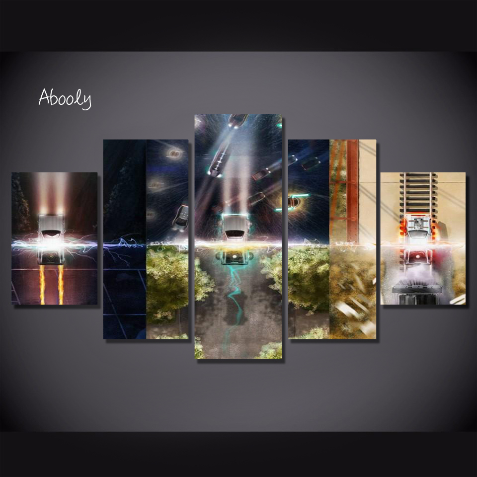 5Piece Canvas Wall Art Back To Future Wall Painting Poster Picture Printed Art Wall Movie Picture For Living Room Home Decor